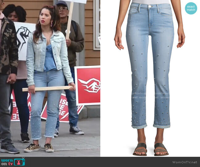 Le High Pearl Straight-Leg Cropped Jeans by Frame worn by Cheyenne (Nichole Bloom) on Superstore