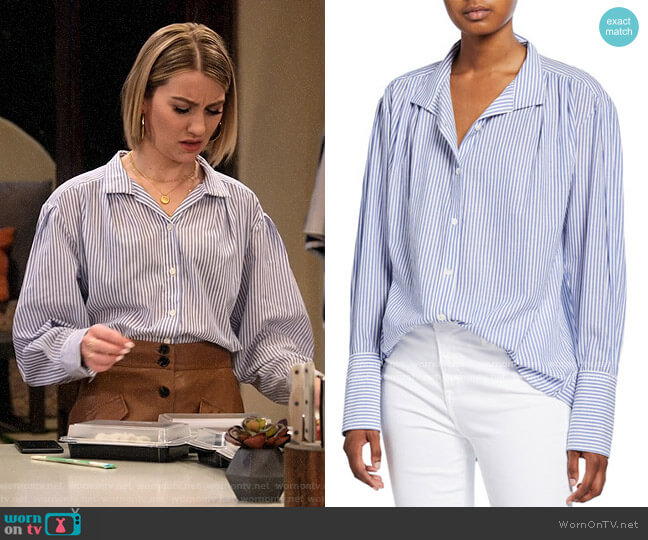 Frame Pleated Clean-Collared Striped Shirt worn by Ava Germaine (Chelsea Kane) on The Expanding Universe of Ashley Garcia