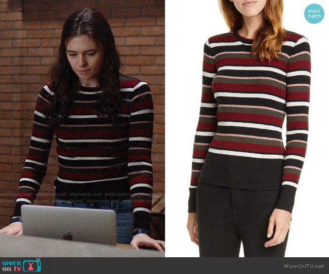 Frame Ribbed Metallic Stripe Top worn by Nia Nal (Nicole Maines) on Supergirl