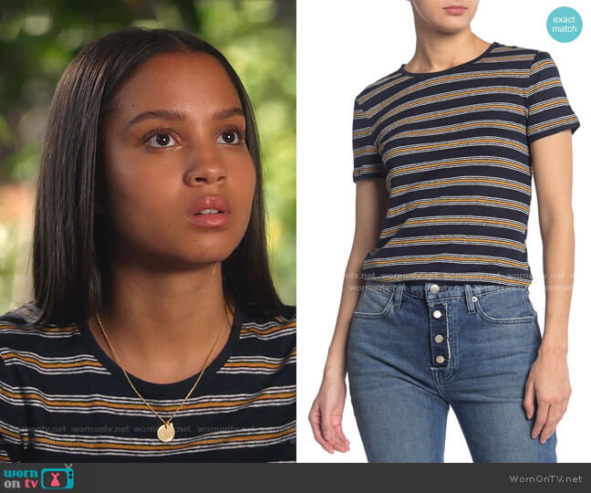 True Stripe Knit T-Shirt by Frame worn by May Grant (Corinne Massiah) on 9-1-1