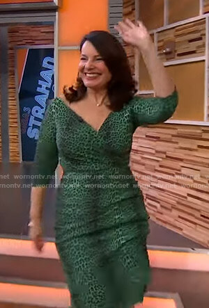Fran Drescher's green leopard print dress on GMA Strahan Sara And Keke