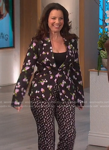Fran Drescher's floral blazer and pants on The Talk