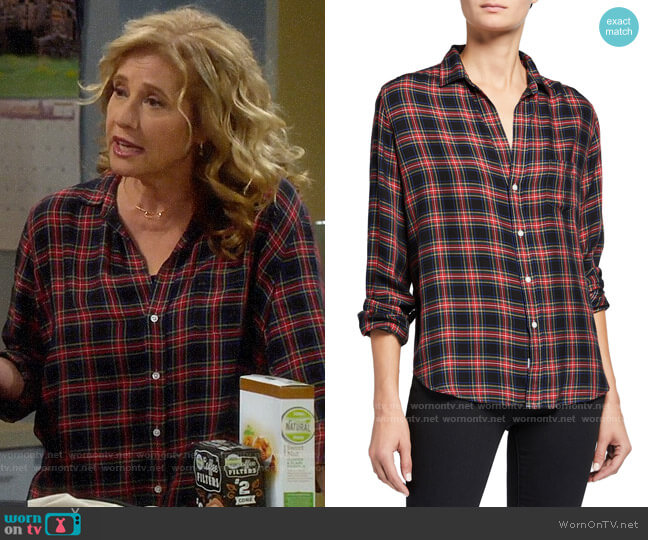 Frank & Eileen Eileen Button-Down Plaid Modal Shirt worn by Vanessa Baxter (Nancy Travis) on Last Man Standing