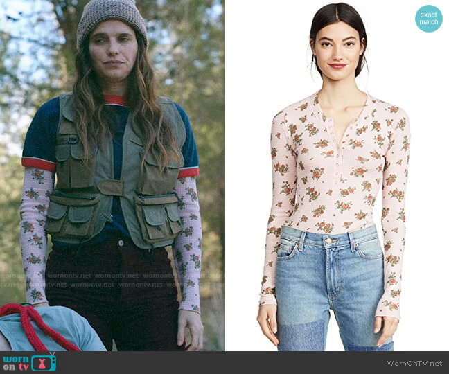 Free People One Of The Girls Long Sleeve Tee in Tulip Combo worn by Rio (Lake Bell) on Bless This Mess