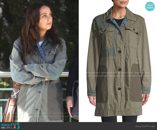 Patchwork Cotton Army Jacket by Free People worn by Jo Wilson (Camilla Luddington) on Greys Anatomy