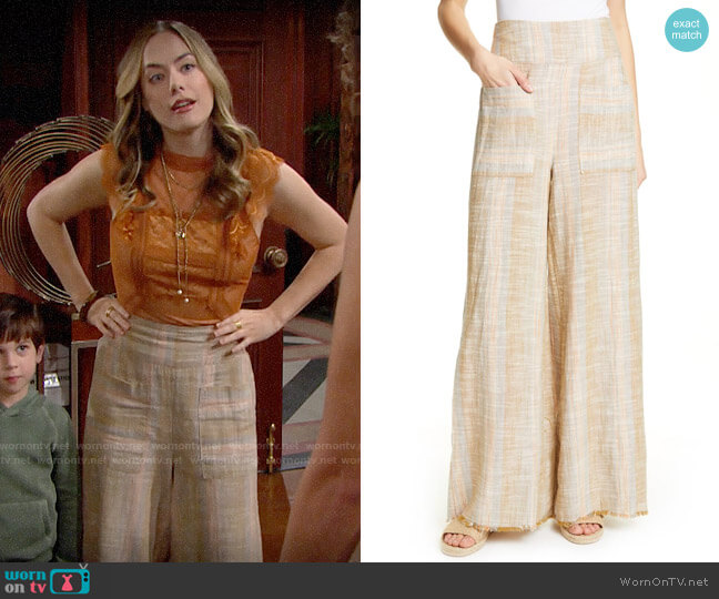 Free People Moonlight Pull-On Pants worn by Hope Logan (Annika Noelle) on The Bold & the Beautiful