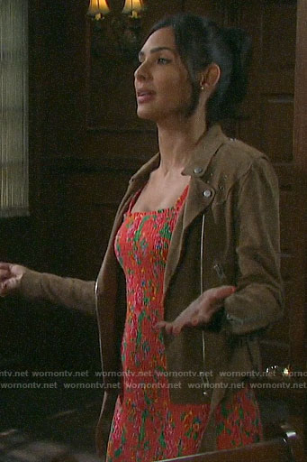 Gabi's orange floral smocked dress and suede jacket on Days of our Lives