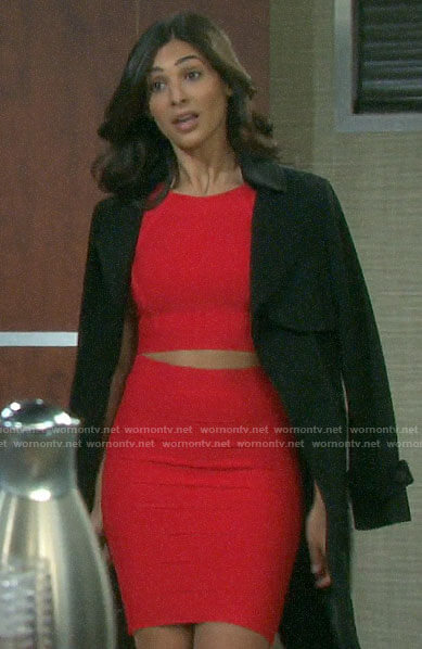 Gabi's red bandage crop top and skirt on Days of our Lives