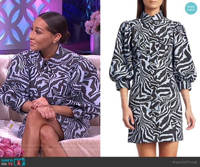 Puff-Sleeve Zebra Mini Shirtdress by Ganni worn by Adrienne Houghton  on The Real