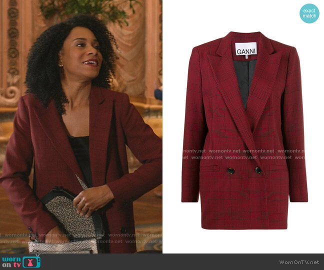 Suiting Checked Blazer by Ganni worn by Maggie Pierce (Kelly McCreary) on Greys Anatomy
