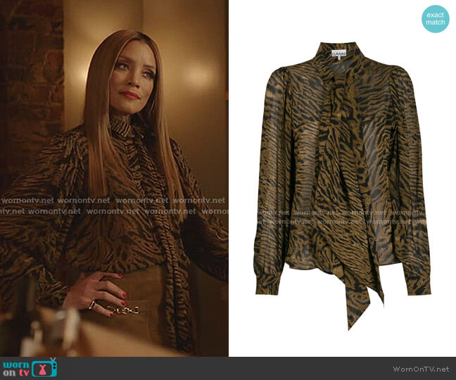 Animal Print Blouse by Ganni worn by Dominique Deveraux (Michael Michele) on Dynasty