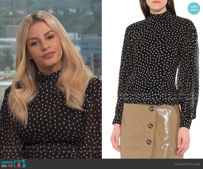 Polka Dot Crepe Blouse by Ganni worn by Morgan Stewart  on E! News
