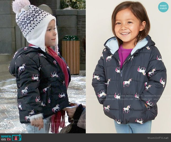GAP Unicorns Hooded Frost-Free Puffer Jacket for Toddler Girls