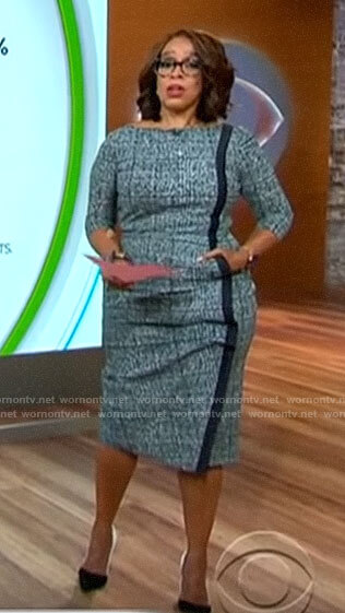 Gayle's plaid dress with contrasting stripe on CBS This Morning