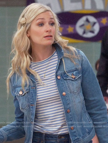 Gemma's blue striped tee and denim jacket on The Neighborhood