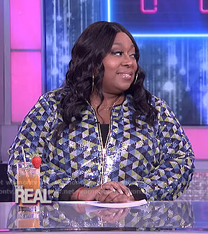 Loni's geometric sequin bomber jacket on The Real