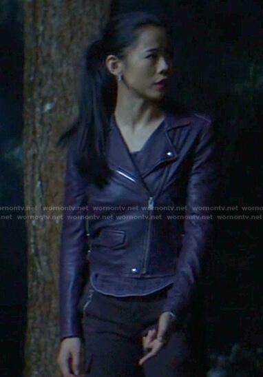 George's purple leather moto jacket on Nancy Drew