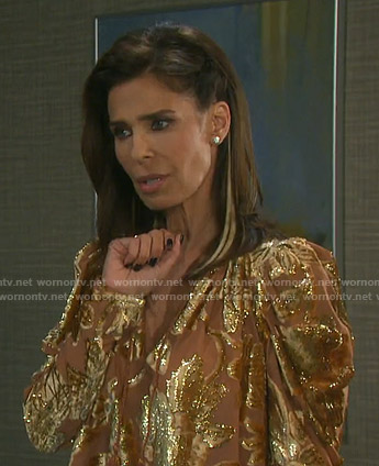 Hope's metallic floral blouse on Days of our Lives