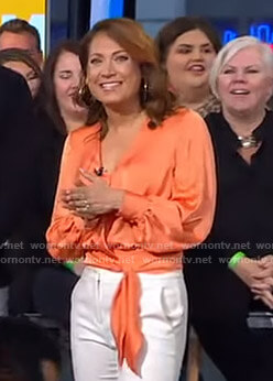 Ginger's orange tie waist wrap top on Good Morning America