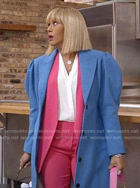Giselle's blue puff sleeve coat on Empire