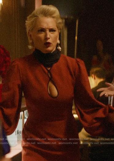 Gloria's red keyhole dress on Katy Keene