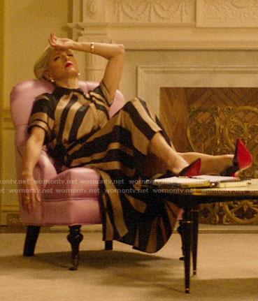 Gloria's gold striped dress on Katy Keene
