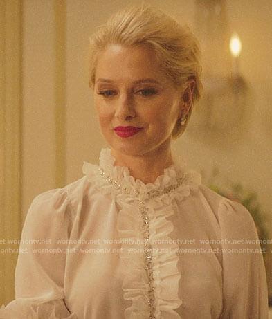 Gloria's white ruffled blouse on Katy Keene