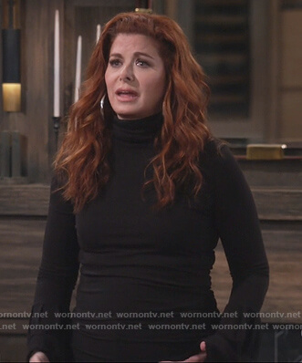 Grace's black turtleneck bell sleeve sweater on Will and Grace