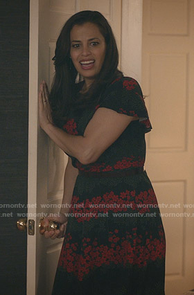 Grace's black floral midi dress on Manifest