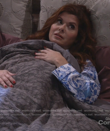 Grace's white and blue printed pajamas on Will and Grace