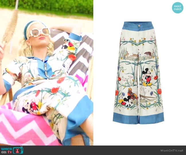 Printed Silk Palazzo Pants by Gucci x Disney worn by Katy Perry  on American Idol