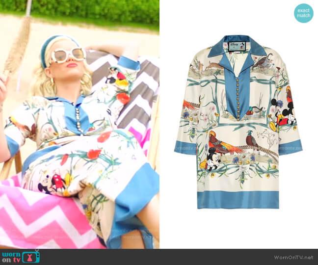 Silk-Twill Shirt by Gucci x Disney worn by Katy Perry  on American Idol