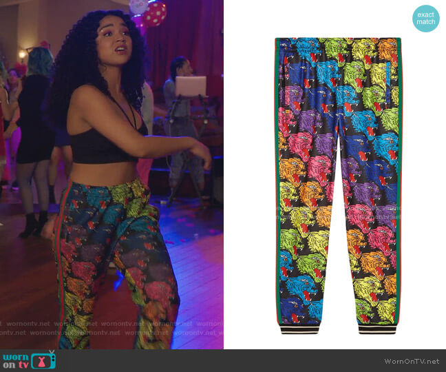 Panther Face Technical Jersey Jogging Pants by Gucci worn by Kat Edison (Aisha Dee) on The Bold Type