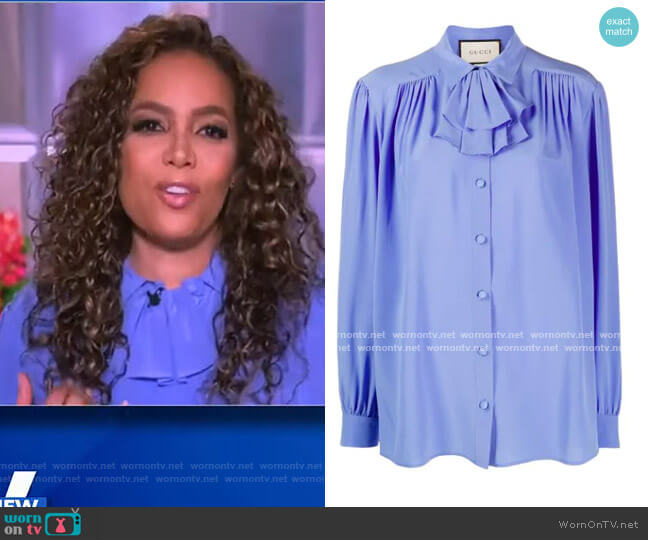Ruffled Jabot Crepe de Chine Shirt by Gucci worn by Sunny Hostin  on The View