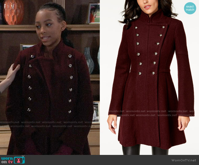 Guess Double-Breasted Skirted Coat worn by Trina (Sydney Mikayla) on General Hospital