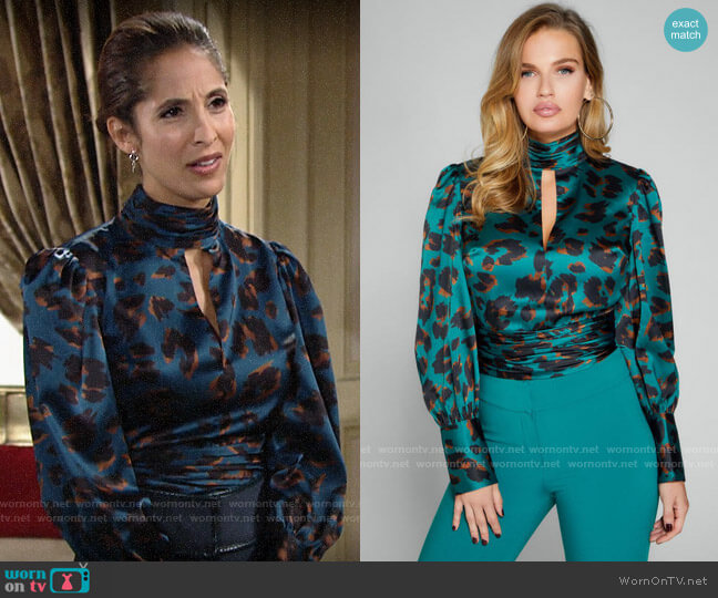 Guess Love Cat Print Top worn by Lily Winters (Christel Khalil) on The Young & the Restless