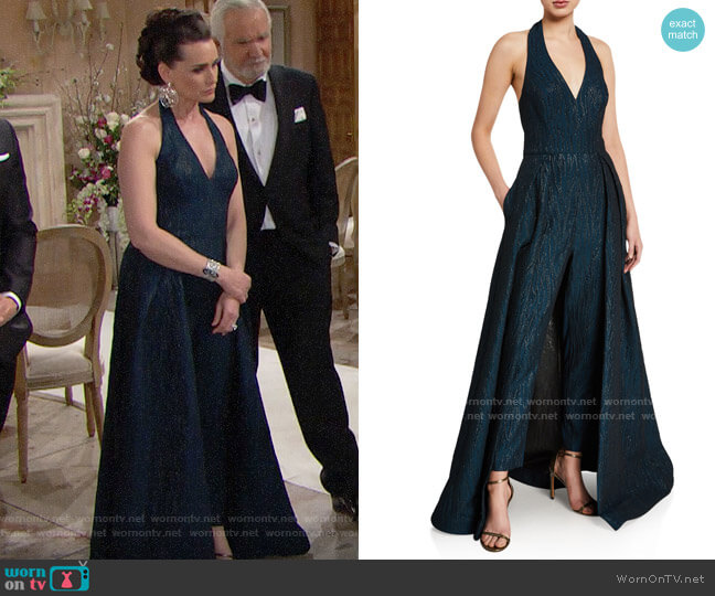 Halston Metallic Jacquard Halter-Neck Overlay Jumpsuit worn by Quinn Fuller (Rena Sofer) on The Bold & the Beautiful