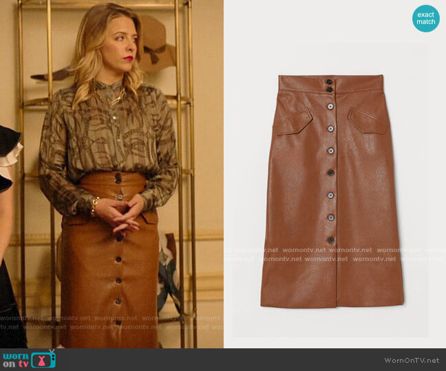 H&M Skirt with Buttons worn by Amanda (Helene Yorke) on Katy Keene