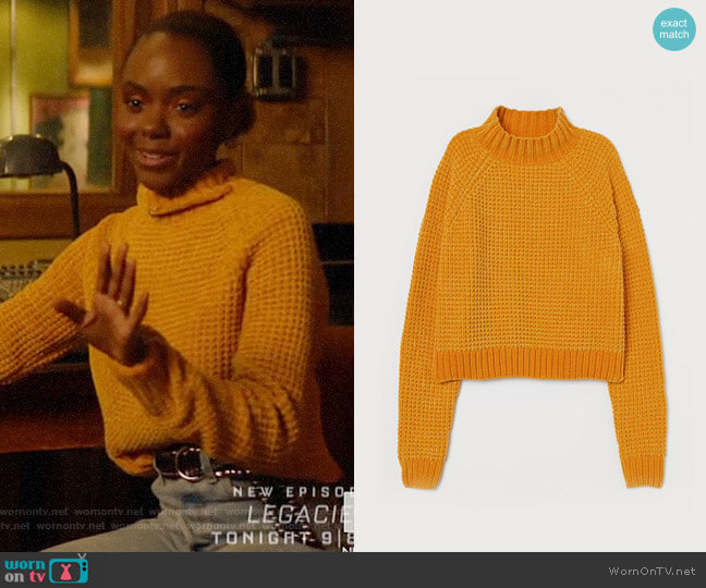 H&M Rib-knit Sweater in Mustard Yellow worn by Josie McCoy (Ashleigh Murray) on Katy Keene