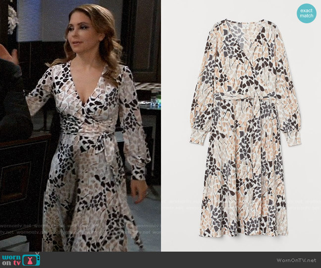 H&M x Richard Allan Creped Wrap Dress worn by Olivia Falconeri (Lisa Lo Cicero) on General Hospital