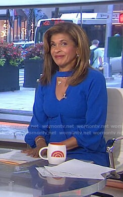 Hoda's blue cutout ruffle front dress on Today