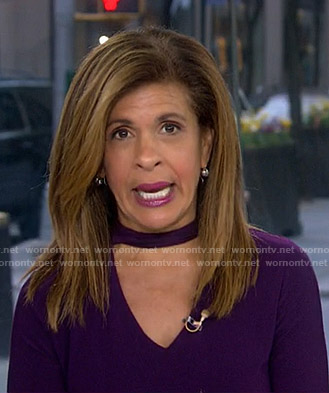 Hoda's purple choker neck top on Today