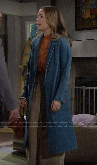 Hope's denim coat on The Bold and the Beautiful