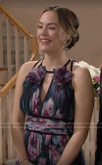 Hope's floral dress at Thomas and Zoe's wedding on The Bold and the Beautiful