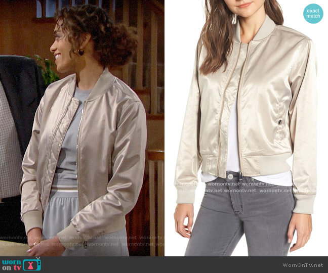 Hudson Sateen Bomber Jacket worn by Zoe (Kiara Barnes) on The Bold & the Beautiful