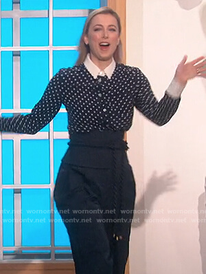 Iliza Shlesinger's navy polka dot blouse and pants on The Talk
