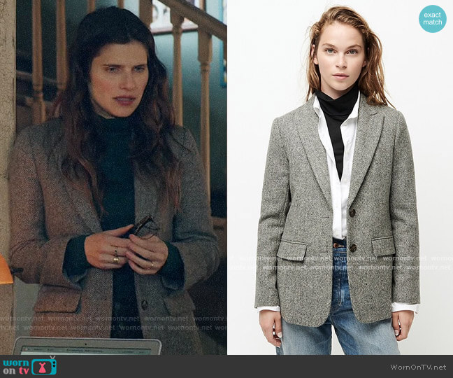 J. Crew Boyfriend blazer in English herringbone wool worn by Rio (Lake Bell) on Bless This Mess