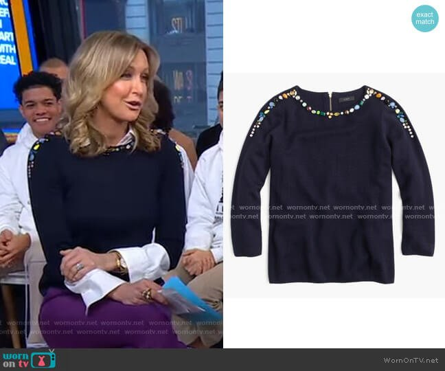 Crew Neck Sweater by J. Crew worn by Lara Spencer  on Good Morning America