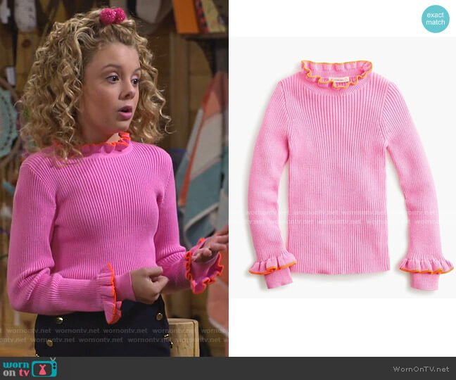 Girls' Ribbed Turtleneck Sweater by J. Crew worn by Destiny Baker (Mallory James Mahoney) on Bunkd