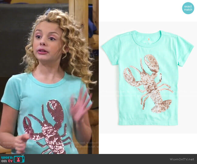 Girls' Sequin Lobster T-shirt by J. Crew worn by Destiny Baker (Mallory James Mahoney) on Bunkd